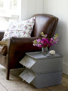 vintage leather chair ... I have these zinc tubs for sale in my shed!