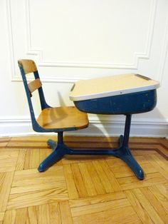 Retro Blue School Desk and Chair by evanspicks on Etsy, $175.00