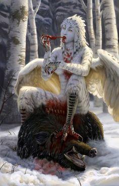 As harpias (em grego, ἅρπυιαι) são criaturas da mitologia grega, frequentemente representadas como aves de rapina com rosto de mulher e seios1 . Na história de Jasão, as harpias foram enviadas para punir o cego rei trácio Fineu, roubando-lhe a comida em todas as refeições. Segundo Hesíodo, as harpias eram irmãs de Íris, filhas de Taumante e a oceânide Electra, e seus nomes eram Aelo (a borrasca), Celeno (a obscura) e Ocípete (a rápida no vôo) .