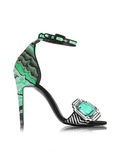 Pierre+Hardy+Mega+Gem+Green+Leather+and+Haircalf+Sandal