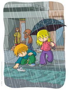 """Rain"" by Illustrationgroup Elementary Drawing, Drawing School, Rainy Day Drawing, Drawing For Kids, Play School Toys, Teaching Manners, Under My Umbrella, Preschool Activities, All Art"