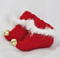 Crochet Pattern Red Elf Christmas Baby Booties by PlayingWithFiber, $4.99