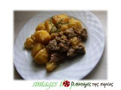 Beef with lemon sauce Lemon Potatoes, Greek Cooking, Lemon Sauce, Cooking Recipes, Healthy Recipes, Meat Lovers, Greek Recipes, Good Food, Dinner Recipes