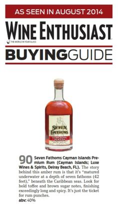 Seven Fathoms Premium Rum Awarded 90 points by Wine Enthusiast! PLCB SLO #537888