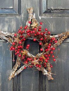 Winter Wreath  Rustic Twig Star  Valentine Wreath by Designawreath, $23.95