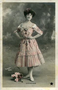 Vintage French hand tinted photo postcard - Actress miss Christiane in pink dress with bow - Victorian Paper Ephemera