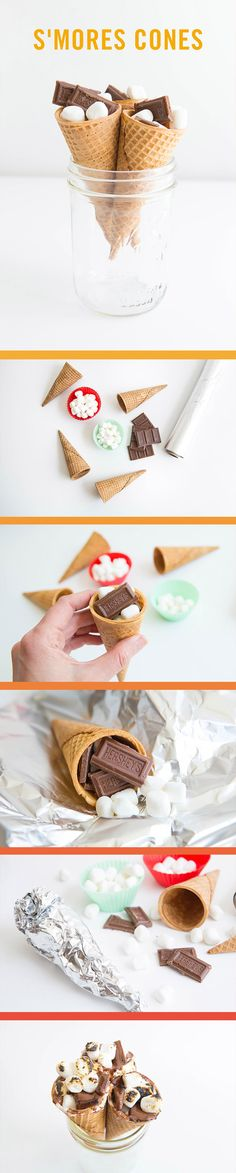 Keep the spirit of summer alive all year long with these easy to make s'mores cones! Grab some ice cream cones, mini marshmallows, some chocolate bars and you're ready to go!
