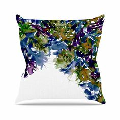 KESS InHouse JD1147AOP03 18 x 18-Inch 'Ebi Emporium Floral Cascade 4 Purple Green' Outdoor Throw Cushion - Multi-Colour *** Find out more at the image link. #GardenFurnitureandAccessories