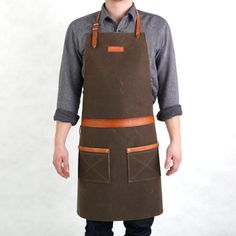 Rugged Men's Apron Waxed Canvas Dark Oak by Hardmill on Etsy