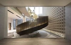 The 4200 ㎡ jinan vanke's sales Interior Staircase, Staircase Railings, Flat Interior, Gold Interior, Staircase Design, Home Interior Design, Staircases, Hand Railing, Stairs To Heaven