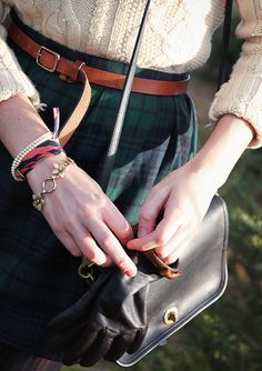 Sarah Vickers of Classy Girls Wear Pearls in a L.L.Bean cable knit sweater and J.Crew skirt and belt with a vintage Coach bag