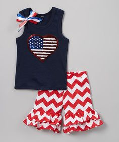 Another great find on #zulily! Navy Heart Flag Tank