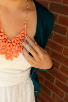 coral and aqua. I don't usually like statement necklaces but I kind of like this one.