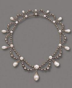 An antique natural pearl and diamond necklace, French, circa 1860. #antique #necklace