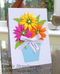 Cosmic Strawberry: Happy Mother's Day. 3D flower card I created for the March 2018 issue of Crafts Beautiful