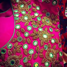 For customising your outfits - whatsapp 9133502232 Best Blouse Designs, Simple Blouse Designs, Sari Blouse Designs, Bridal Blouse Designs, Hand Work Embroidery, Hand Embroidery Designs, Beaded Embroidery, Mirror Work Blouse Design, Hand Work Design