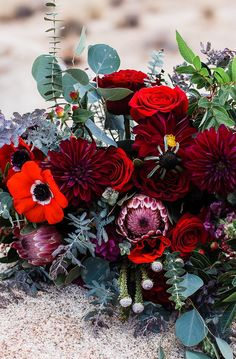 burgundy and red bouquet