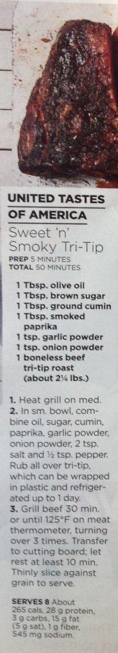 (Grilled) Sweet 'n Smoky Tri-Tip, GH July 2017 United Tastes of America (Abt 2 1/4 lb boneless beef tri-tip roast)