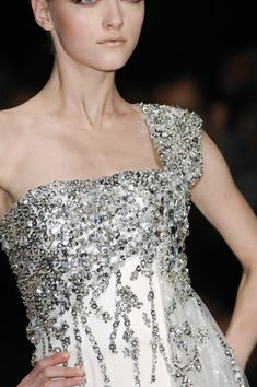 One shoulder with sequins and beads