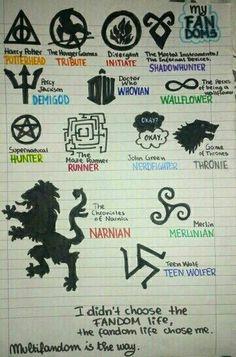 I am all this fandoms. Percy Jackson, Lord Sith, Hush Hush, Harry Potter Symbols, Tribute, Fandom Crossover, Maze Runner, Book Fandoms, Book Of Life