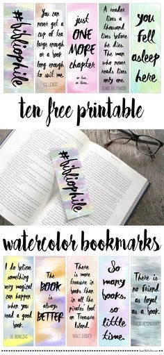 Free printable watercolor bookmarks                                                                                                                                                     More
