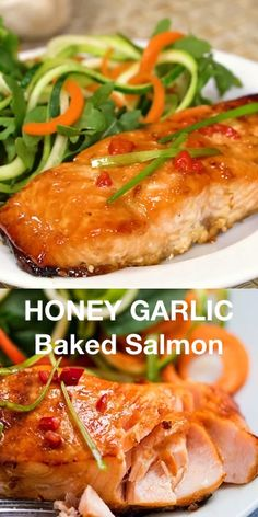Honey Garlic Baked Salmon - One of the easiest and tastiest salmon recipes you ll ever make Just 15 minutes in the oven and you have a delicious healthy meal salmon honeygarlic Delicious Salmon Recipes, Baked Salmon Recipes, Healthy Recipes, Honey Recipes, Recipes For Salmon Filets, Salmon Belly Recipes, Salmon Marinade Baked, Oven Baked Tilapia, White Fish Recipes