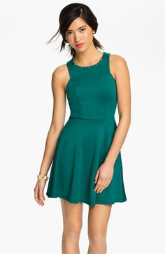 Lush Clothing Mesh Illusion Cutout Skater Dress (Juniors ...