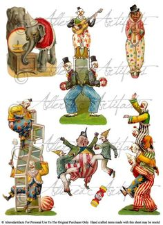 Printable Clowns Clip Art Printable Vintage Circus Preformers Paper Doll Scrap Puppets Up & Up Digit Cirque Vintage, Vintage Circus, Vintage Paper, Vintage Art, Art Du Collage, Collage Sheet, Digital Collage, Circus Art, Circus Theme