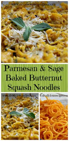 Butternut squash noodles baked in a creamy Parmesan and sage sauce. An easy comfort dish and fun to make with your spiralizer.