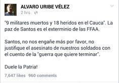 Esta es tu Colombia: El mensaje de Uribe a Santos en Redes Sociales