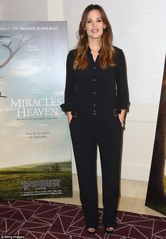 Hard at work: On Friday the mother-of-three had been busy promoting her upcoming drama Miracles from Heaven at The London Hotel - it hits theaters March 16