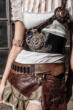 Steampunk Leather Skirt With Pouch