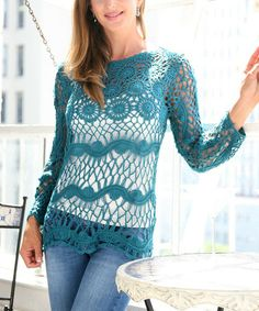 Another great find on #zulily! Blue Crocheted Boatneck Top by Ananda's Collection #zulilyfinds