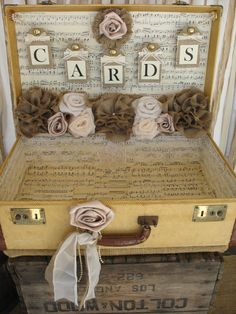 Vintage wedding card suitcase postbox wedding ideas pinterest vintage suitcase wedding card holder shabby by rusticglamdesigns junglespirit