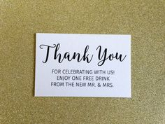 Thank you drink ticket for weddings