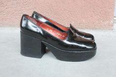1970's Charles Jourdan Platform Shoes  1970's Black