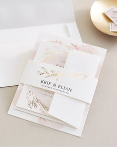 NEW Minted custom belly bands—in intricate foil-pressed and laser-cut designs—are the perfect way to finish off your wedding invitation suite. Shop now on Minted.com