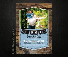 25 Rustic Banner Save the Date Magnets Cards by LittleBeesGraphics