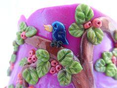 Spring Dreams Vase bird detail - Polymer Clay Vase