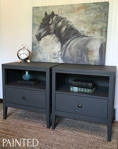 painted nightstand in general finishes lamp black