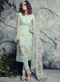 Artistic Light Turquoise Georgette Churidar Suit