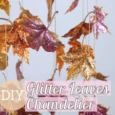 DIY Glitter Leaves Chandelier This is a room centerpiece worth falling for 🍁 Glitter Room, Glitter Crafts, Diy Chandelier, Flower Chandelier, Craft Stick Crafts, Thanksgiving Decorations, Diy For Kids, Diy Projects, Centerpiece