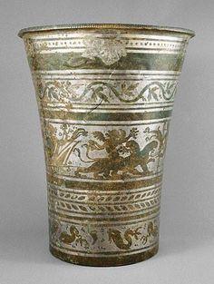 (c. 210-230 CE) Roman bronze and tin vessel depicting Bacchus - Asia Minor
