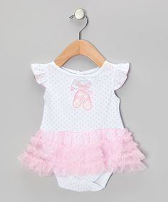 Loving this Pink Ballerina Angel-Sleeve Skirted Bodysuit - Infant on #zulily! #zulilyfinds