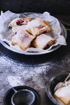 Cherry Cream Cheese Strudel with Vanilla Sauce