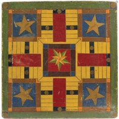 Antique Painted Parcheesi Gameboard (6) sold by Northeast Auctions