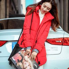 New Long Winter Down Jacket Women Slim Female Solid Coat Warm Cotton Clothes Thicken Parka Red Hooded Jackets Student Wear SY280 Love it? Get it here