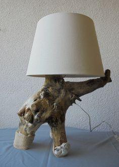 """Tischlampen - Tischlampe Wurzelholz """"Harmonie"""" - ein Designerstück von Wurzelkoenigin bei DaWanda"""