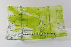 Fused Glass Dish Shades of Green Serving Dish by Smokeylady54