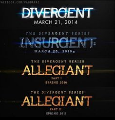 They split the last movie into Who's kind of sick of franchises doing this? First Harry Potter, then Hunger Games, now Divergent? Divergent Hunger Games, Divergent Fandom, Divergent Insurgent Allegiant, Divergent Trilogy, Book Tv, Book Nerd, Book Series, The Book, Veronica Roth